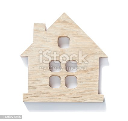 wooden symbol toy little house isolated  white