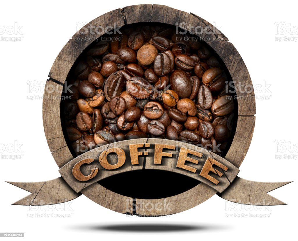 Wooden Symbol with Coffee Beans stock photo