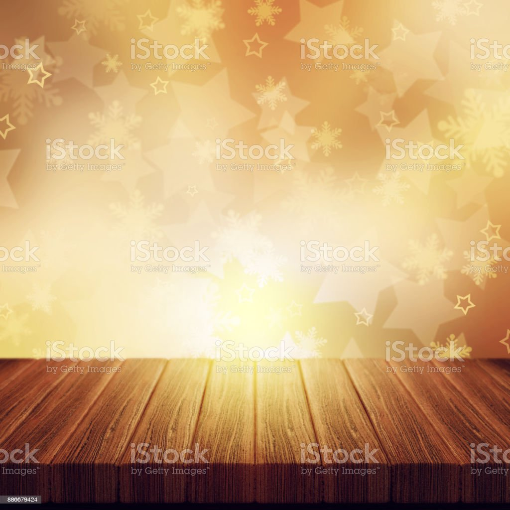 3d Wooden Table Against A Warm Golden Christmas Stars Background