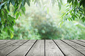 istock Wooden table and blurred green leaf nature in garden background. 1161073818