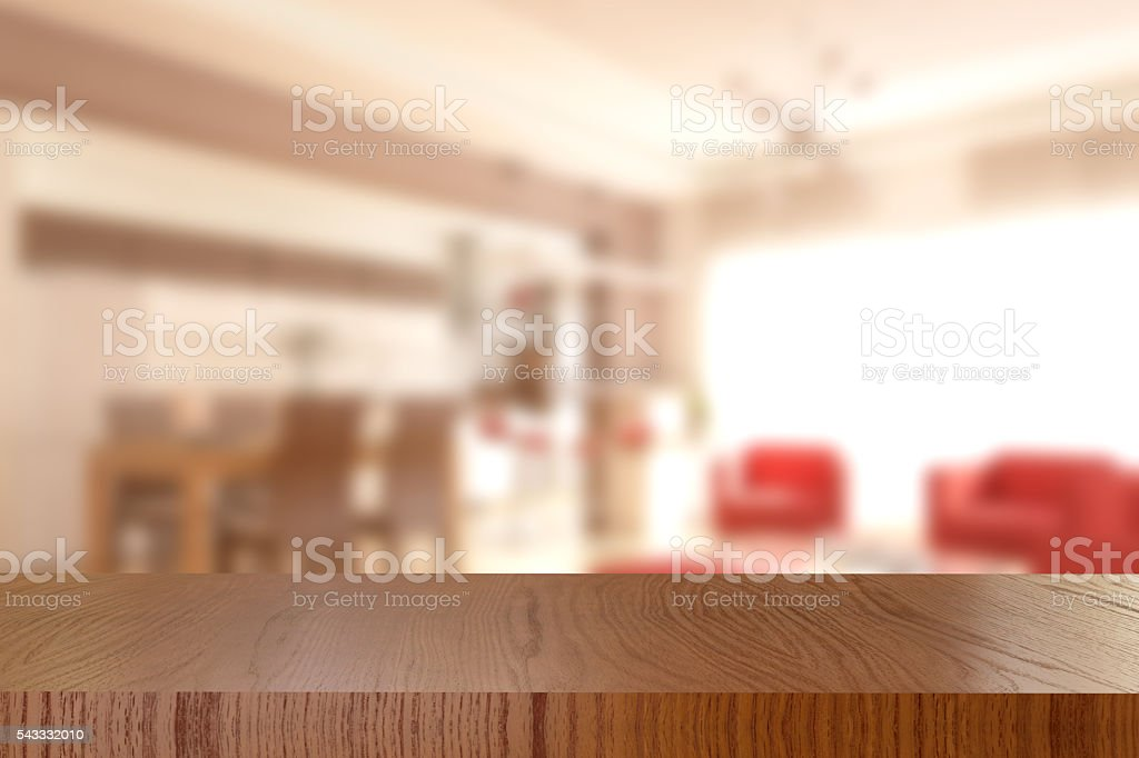 Wooden Table And Blurred Living Room Background Royalty Free Stock Photo