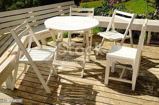 White wooden chairs outdoor