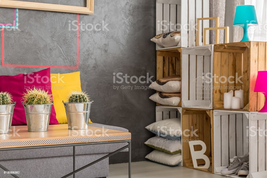 Wooden table and diy regale stock photo