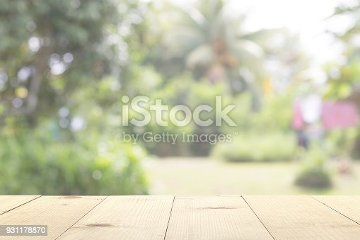 601026242 istock photo wooden table and garden blurry background 931178870