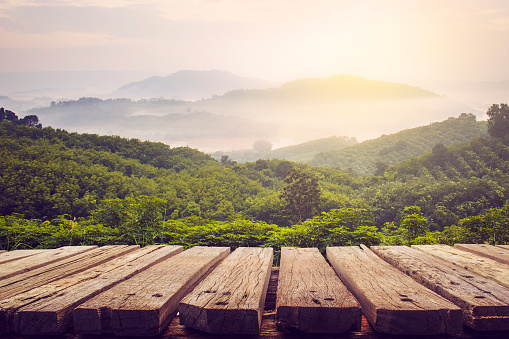 wooden table and view of mountain