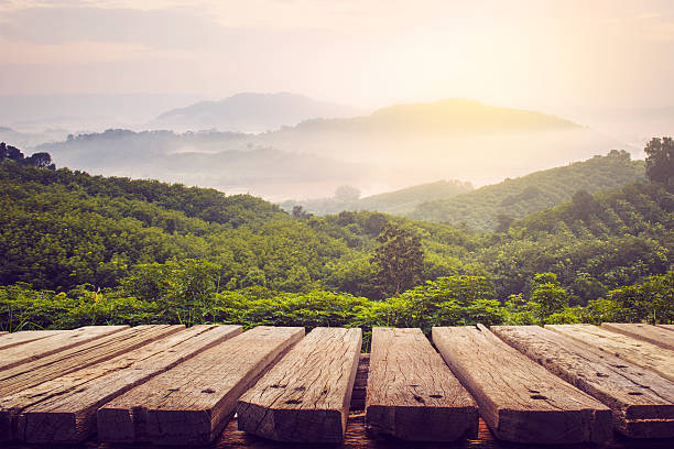 wooden table and view of mountain - woodland stock pictures, royalty-free photos & images