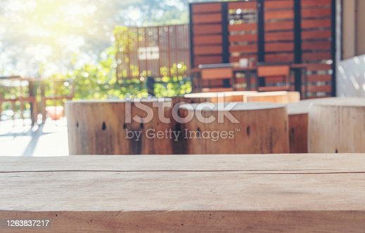 885452818 istock photo Wooden table background design for interior use board. Display product furniture on desk with blurred background. Ready to use for present product display and banner with copy space. 1263837217