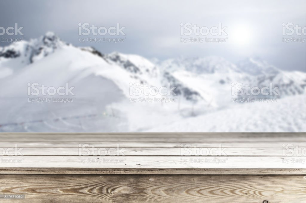 Wooden table background stock photo