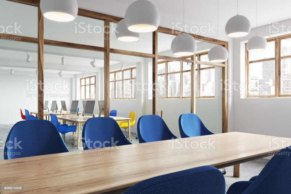 Picture of: Wooden Table Blue Chairs Meeting Room Side Stock Photo Download Image Now Istock