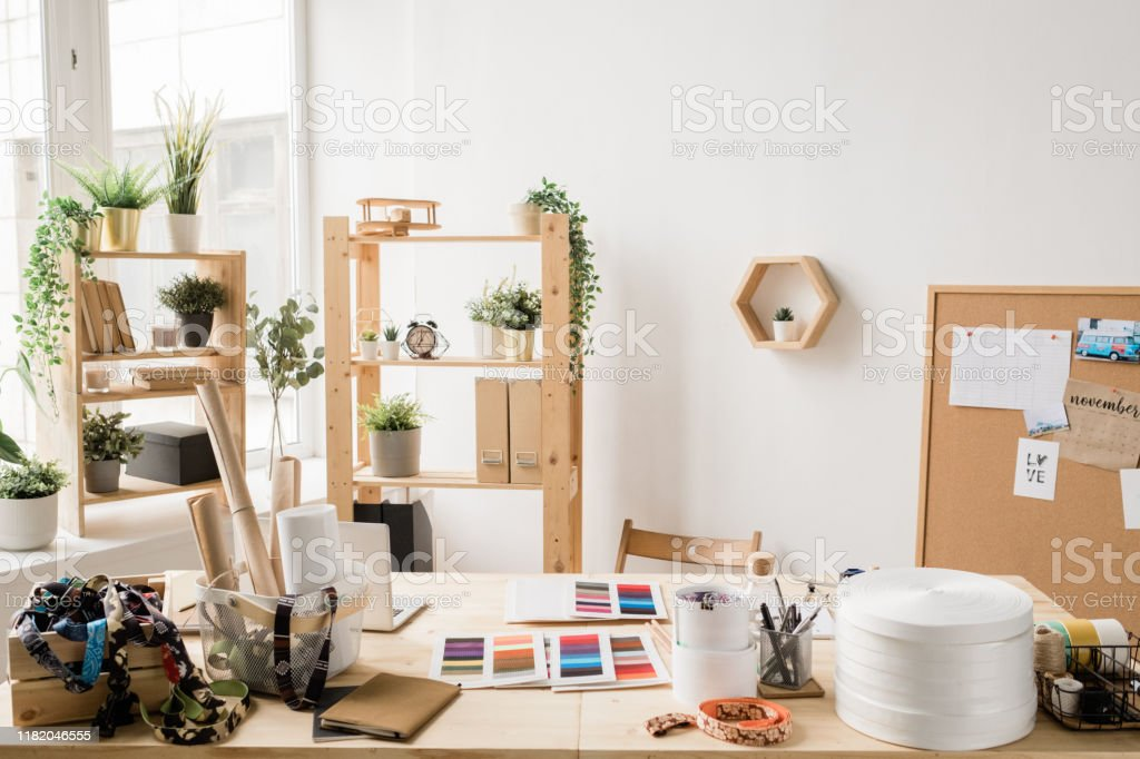 Wooden Table By Window With Various Stuff For Creative Work Of Fashion Designer Stock Photo Download Image Now Istock