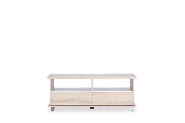 Holztisch für put Fernsehen an der Spitze isoliert auf weißem Hintergrund mit Platz für Kopie. – Foto