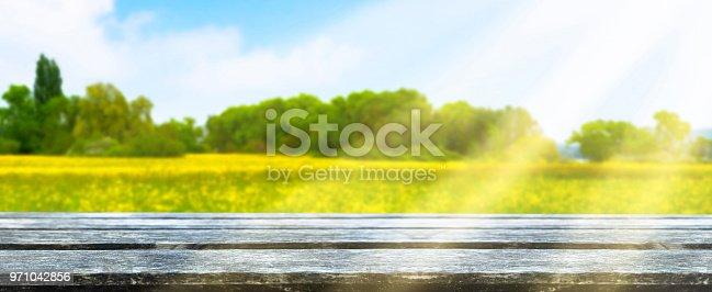 istock wooden table in idyllic landscape 971042856