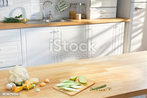 istock Wooden table in the kitchen 923629650