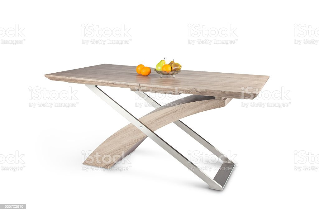 wooden table isolated in white royalty-free stock photo