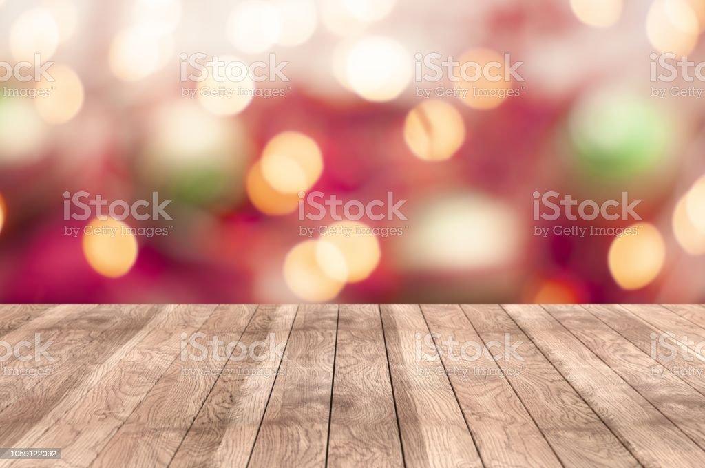 Holztisch auf einen Urlaub bokeh – Foto