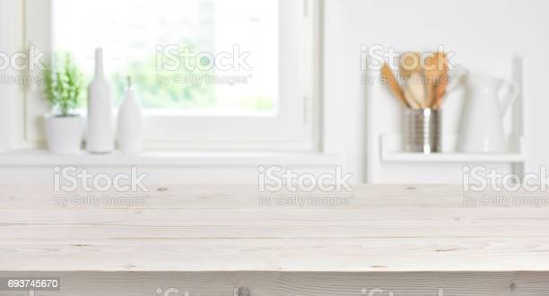 Wooden table on blurred background of kitchen window and shelves picture id693745670?b=1&k=6&m=693745670&s=612x612&h=ckx 1ptbqdgpmcppnn2mzvr45njqjrp1izpgpqattzg=