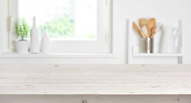 Wooden table on blurred background of kitchen window and shelves picture id693745670?b=1&k=6&m=693745670&s=612x612&w=0&h=fu lk pm3tqp fhksdpmb2cenajnkz1l2f1cwgkkiuk=