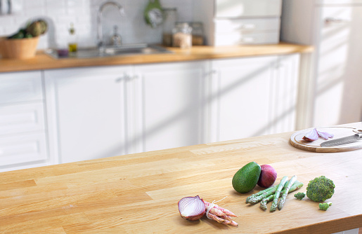 Wooden Table On Blurred Kitchen Interior Background Stock ...