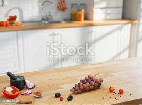 923629650istockphoto Wooden table on blurred kitchen interior background 923627042