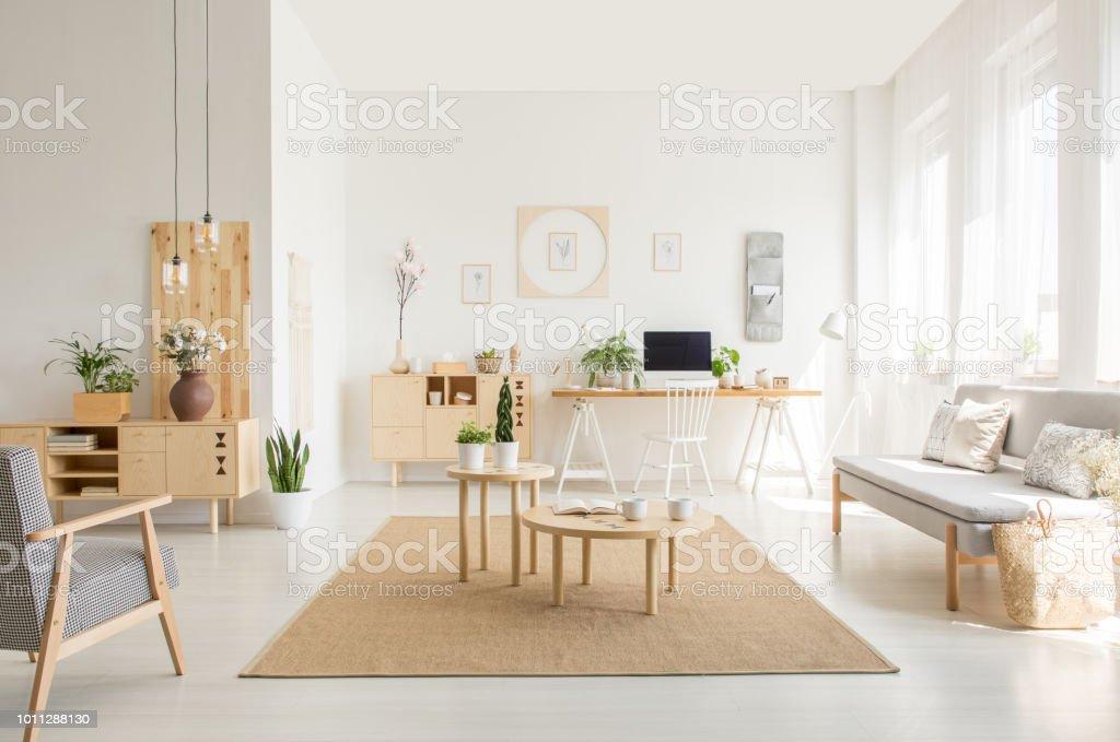 Holztisch Auf Braunen Teppich Zwischen Couch Und Sessel In Weißen ...
