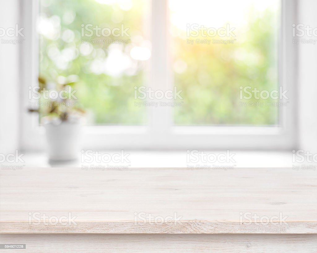 Wooden Table Defocused Summer Window With Flower Pot Background