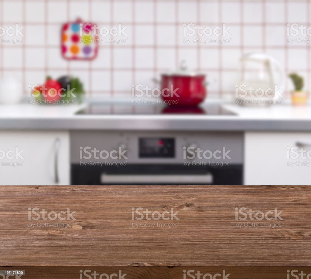 Wooden table on kitchen bench background stock photo
