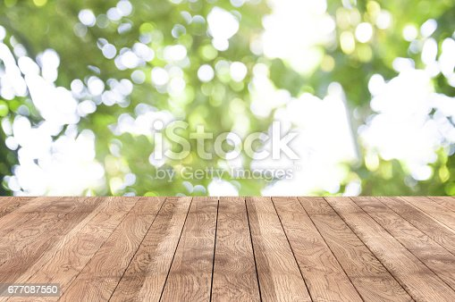 istock Wooden table on the garden 677087550