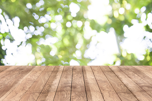 istock Wooden table on the garden 677087550