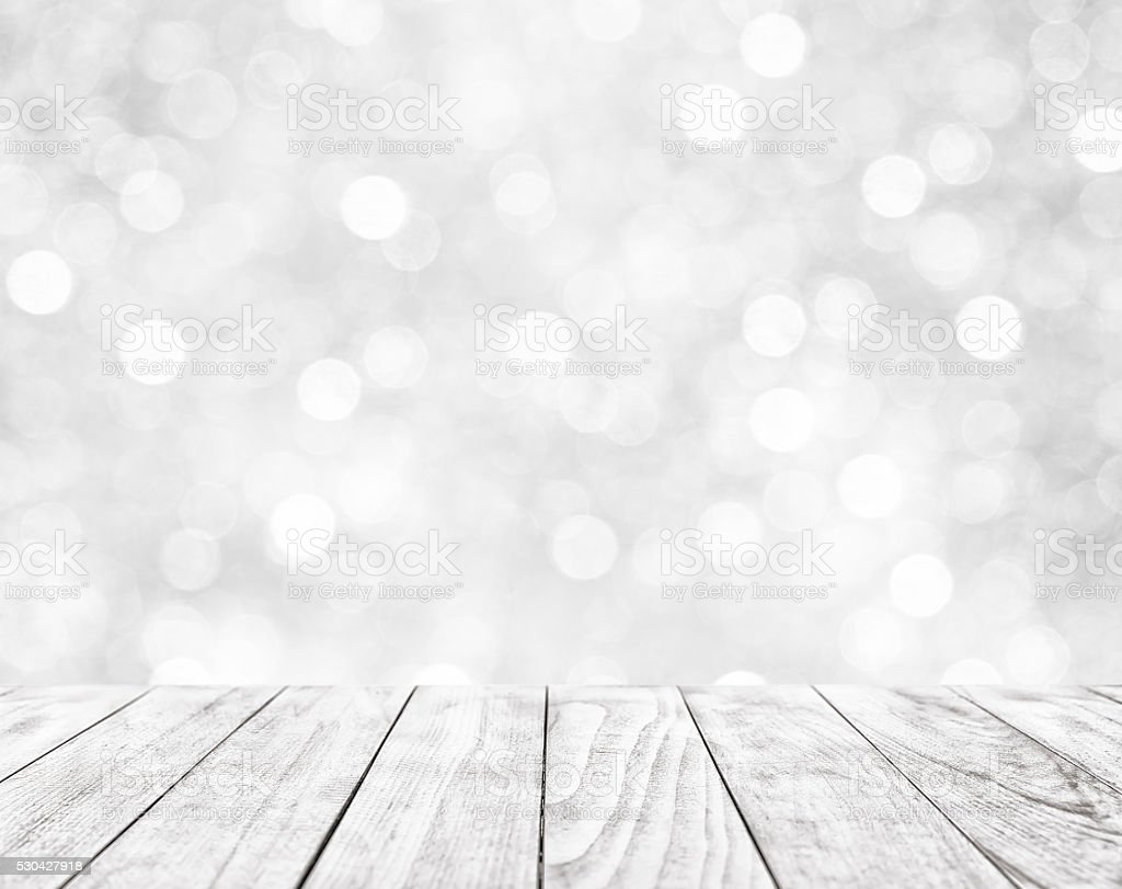 Wooden table on white abstract background bildbanksfoto