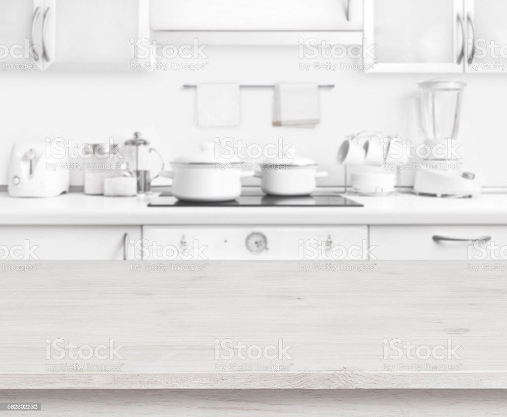 Wooden Table On White Modern Kitchen Interior Background Pastel ...