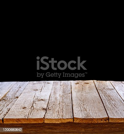 642100994 istock photo wooden table perspective with black wall background 1200680642