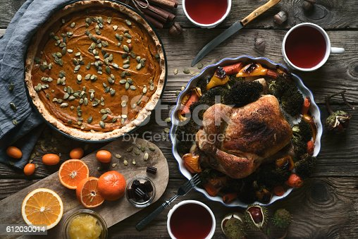 istock Wooden table served for Thanksgiving dinner top view 612030014