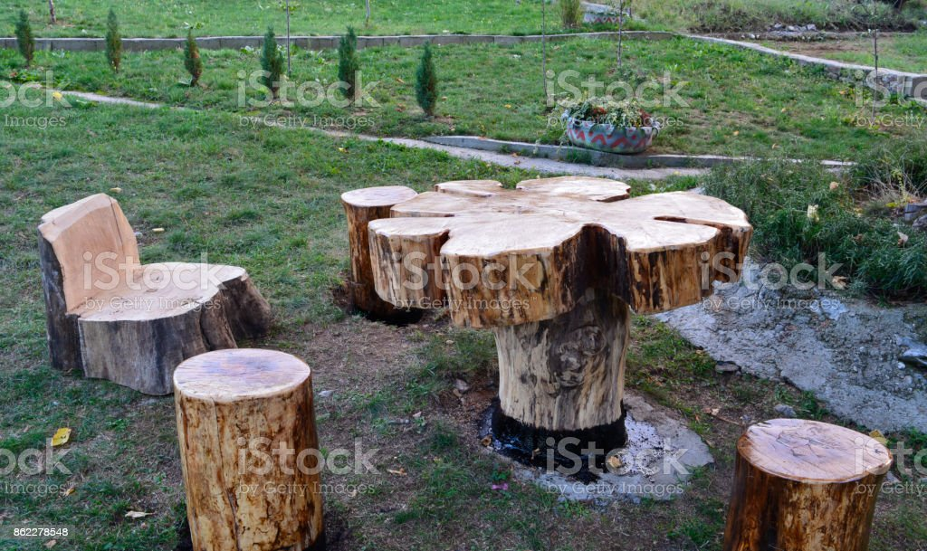 ... Wooden Table, Stump Stock Photo · Chair ...