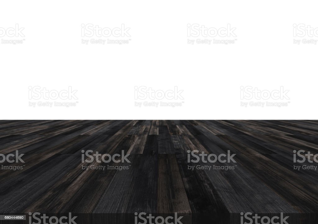 Wooden table top, isolated on white backgrounds with copy space for montage products стоковое фото