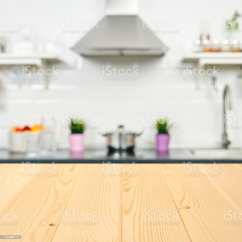 A Wooden Table Top Of The Kitchen Table On A Blurry Background Of The  Kitchen Interior Bright Interior Decoration Of Home Cooking Bright  Readymade ...