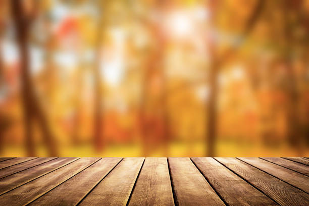 Wooden table top on blur autumn background stock photo