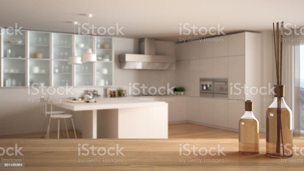 Dessus De Table En Bois Ou Une étagère Avec Aromatiques Bâtons Bouteilles  Plus Floue Cuisine Moderne