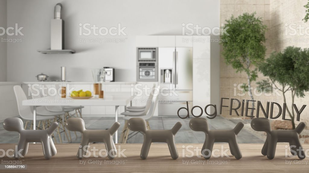 Wooden table top or shelf with line of stylized dogs, dog friendly...