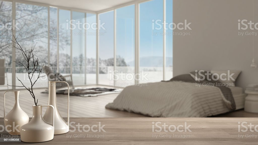 Wooden Table Top Or Shelf With Minimalistic Modern Vases Over Blurred  Classic Bedroom With Big Panoramic