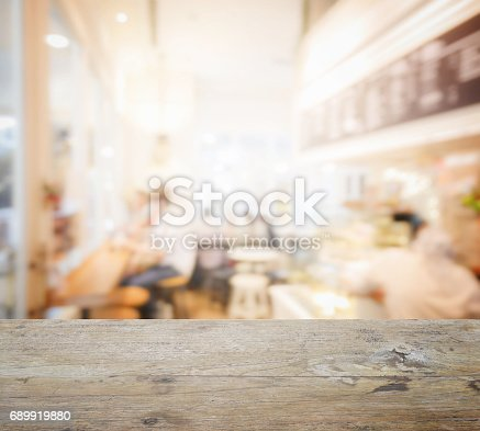 885959540istockphoto wooden table top with blur of coffee shop interior as background 689919880