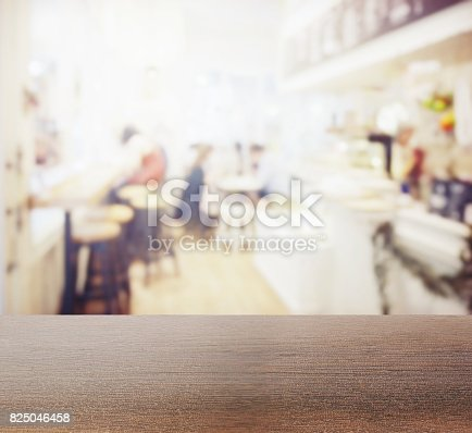 885959540istockphoto wooden table top with blur of coffee shop interior as background 825046458