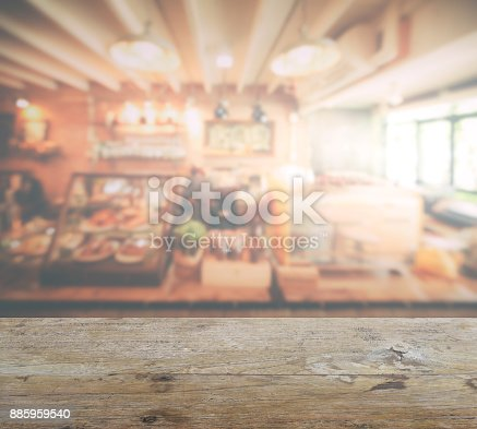 885959540istockphoto wooden table top with blur of coffee shop interior background 885959540