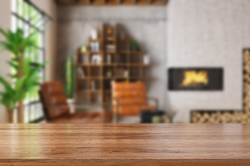 Wooden Table Top with Blur of Cozy Living Room. 3d Render