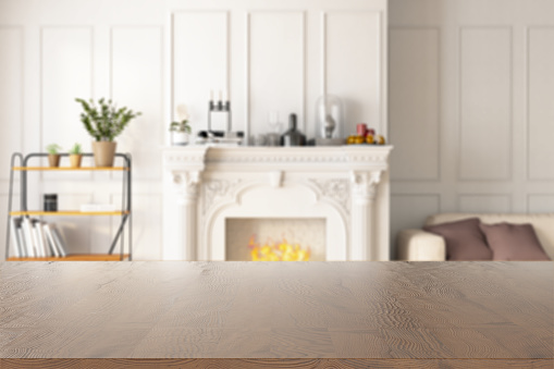 Wooden Table Top with Blur of Living Room