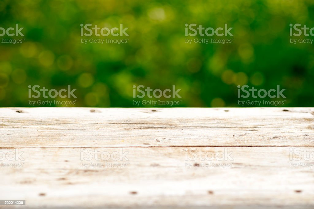 wooden table with blurred background stock photo