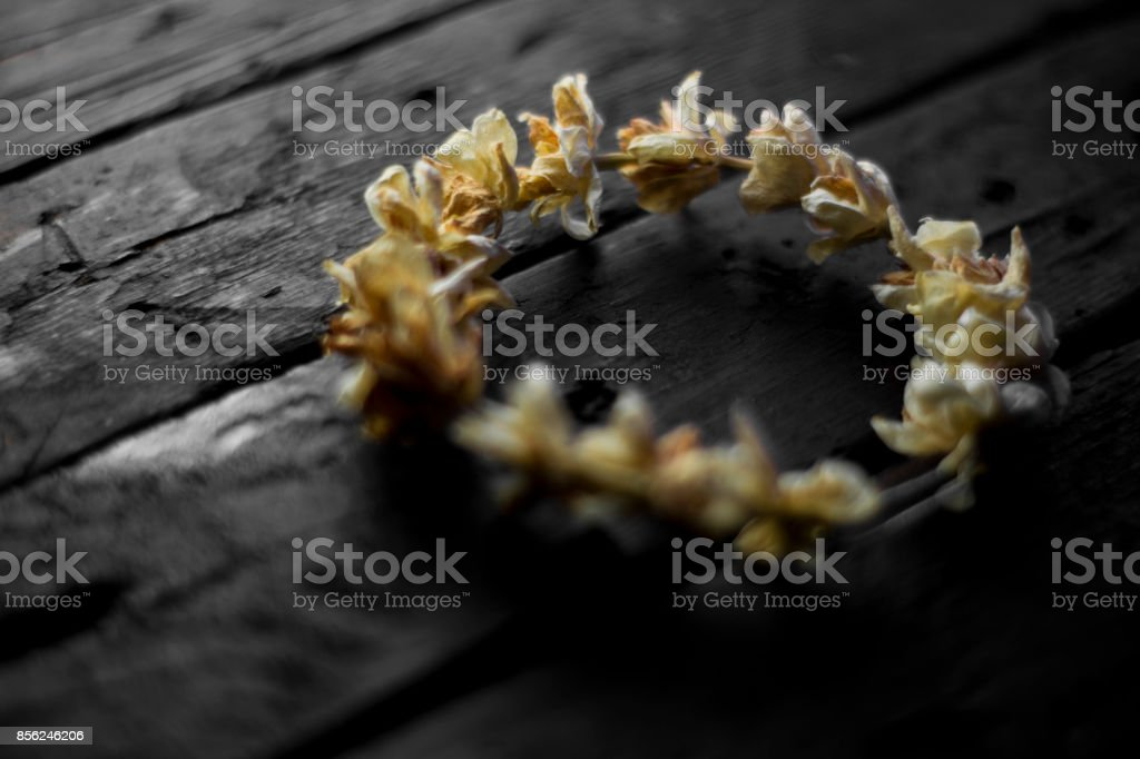 wooden table With Flowers stock photo