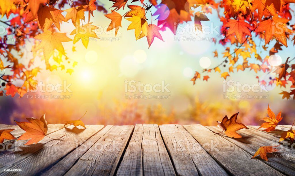 Wooden Table With Orange Leaves And Blurred Autumn Background stock photo