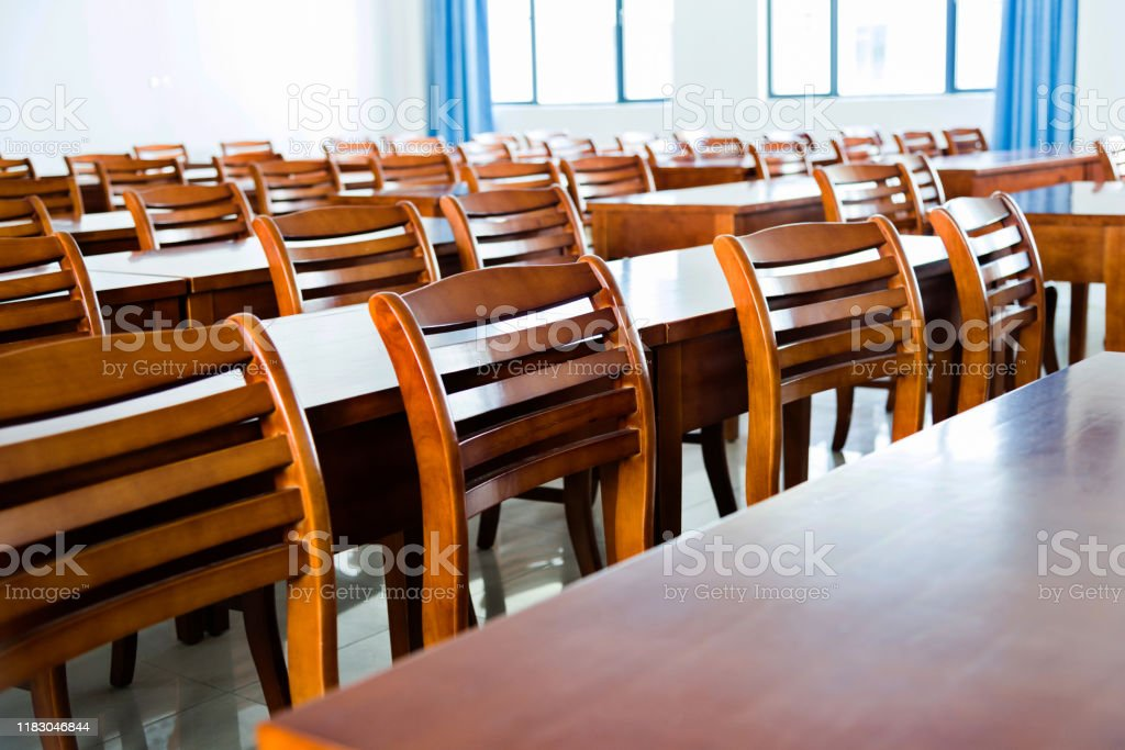 Wooden Tables And Chairs In The Classroom Stock Photo Download Image Now Istock