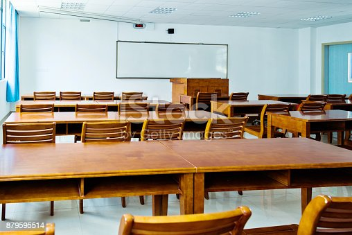 istock Wooden tables and chairs in the classroom 879595514