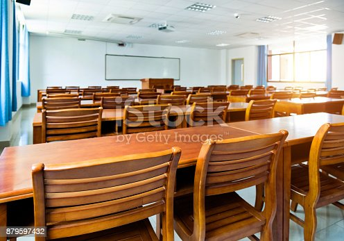 istock Wooden tables and chairs in the classroom 879597432